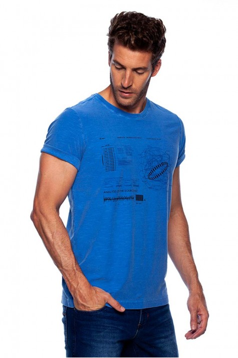 Camiseta Casual Azul Estampada Flame