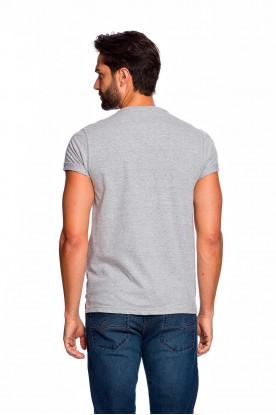 Camiseta Casual Cinza Mescla Básica