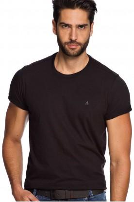 Camiseta Casual Manga Curta Básica Preta